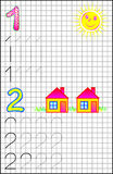 Educational page for children on a square paper with numbers 1 and 2. Royalty Free Stock Photos