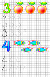 Educational page for children on a square paper with numbers 3 and 4. Stock Photos