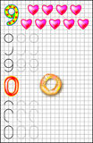 Educational page for children on a square paper with numbers 9 and 0. Royalty Free Stock Photography