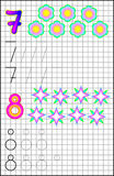 Educational page for children on a square paper with numbers 7 and 8. Royalty Free Stock Images