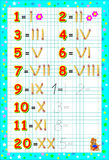 Educational page for children on a square paper with Roman and Arabic numerals. Royalty Free Stock Photos
