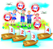 Educational page with exercises on addition and subtraction. Need to solve examples. On which boat will sail each child? Royalty Free Stock Photo