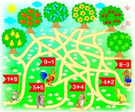 Educational page with exercises for children on addition. Solve examples and draw the way from each animal till correct tree. Vector cartoon image. Scale to any Royalty Free Stock Photo