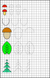 Educational page with exercises for children on a square paper. Royalty Free Stock Image