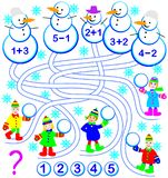 Educational page with exercises for children.  Who made every snowman? Solve examples and write the numbers. Royalty Free Stock Photo