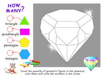 Free Educational Page For Children On Math. Count The Quantity Of Geometric Figures In Diamond, Color Them And Write Numbers. Royalty Free Stock Photos - 161973358