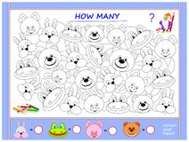 Free Educational Page For Little Children On Math. Find Animals, Paint Them, Count The Quantity And Write Numbers In Circles. Stock Photos - 155246033