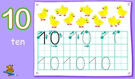 Free Educational Page For Young Children With Number Ten. Developing Skills For Writing And Counting. Royalty Free Stock Photography - 123688657