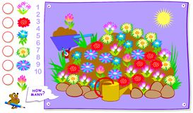 Educational page for kids. How many times can you find each of plant in spring flower bed? Count the quantity and write the number Royalty Free Stock Image