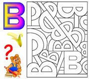 Educational page with letter B for study English. Logic puzzle. Find and paint all letters B. Vector image Stock Photography
