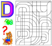 Educational page with letter D for study English. Logic puzzle. Find and paint 5 letters D. Vector cartoon image. Scale to any size without loss of resolution Stock Photo
