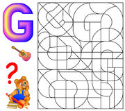 Educational page with letter G for study English. Logic puzzle. Find and paint 5 letters G. Vector cartoon image. Scale to any size without loss of resolution Stock Photos