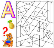 Educational page with letter A for study English. Logic puzzle. Find and paint 5 letters A. Vector cartoon image. Scale to any size without loss of resolution Stock Images