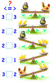 Educational page with mathematical exercises for young children. Need to write the correct signs in empty squares. Royalty Free Stock Images