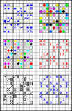 Educational page on a square paper for children with set of Sudoku puzzles. Vector cartoon image. Scale to any size without loss of resolution Stock Photo