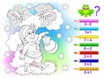 Free Educational Page With Exercises For Children On Addition And Subtraction. Solve Examples And Paint The Gnome In Relevant Colors. Royalty Free Stock Image - 155246176