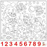 Educational page for young children. Find the numbers hidden in the picture and paint them. Logic puzzle game. Vector cartoon image. Scale to any size without Stock Photography