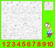 Educational page for young children. Need to find the hidden numbers and paint them. Developing skills for counting and coloring. Vector cartoon image. Scale to Royalty Free Stock Images