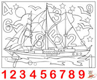 Educational page for young children. Need to find the numbers hidden in the picture and paint them. Logic puzzle game. Vector cartoon image. Scale to any size Stock Photo