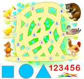 Educational page for young children. Need to join successively triangles, circles and squares. Stock Photography