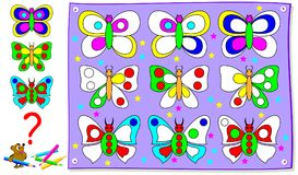 Educational page for young children. Paint the butterflies so that in each line they are identical. Vector cartoon image. Scale to any size without loss of Stock Images