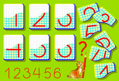Educational page for young children on a square paper.  Need to find the second parts of numbers and draw them in relevant places. Vector cartoon image. Logic Royalty Free Stock Photo