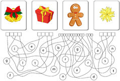 Educational puzzle game. Find the hidden words. Educational Christmas puzzle game for kids. Find the hidden words bell, present, gingerbread man, star Royalty Free Stock Image