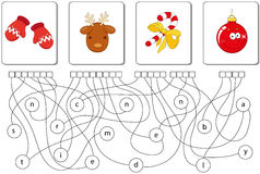 Educational puzzle game. Find the hidden words. Educational Christmas puzzle game for kids. Find the hidden words mittens, reindeer, candy cane, ball Royalty Free Stock Photos