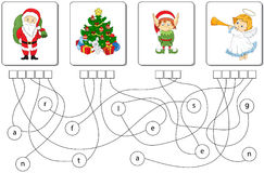 Educational puzzle game. Find the hidden words. Educational Christmas puzzle game for kids. Find the hidden words santa, tree, elf, angel Stock Photo