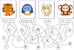 Educational puzzle game. Find the hidden words. Educational puzzle game for kids. Find the hidden words tiger, penguin, cow, monkey Stock Photography