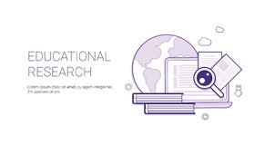 Educational Research Business Concept Template Web Banner With Copy Space. Vector Illustration royalty free illustration