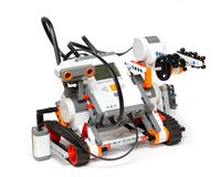 Educational robot for kids learning. Lego NXT Mindstorms educational robot for kids learning robotics competitions in STEM school royalty free stock image