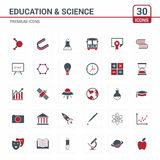 Educational and Science icons red. For web design and application interface, also useful for infographics. Vector illustration stock illustration