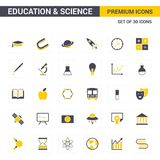 Educational and Science icons yellow. For web design and application interface, also useful for infographics. Vector illustration royalty free illustration