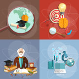 Educational set professor teacher diploma online concept Royalty Free Stock Images