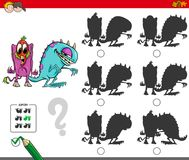 Educational shadow activity with monsters. Cartoon Illustration of Finding the Shadow without Differences Educational Activity for Children with Funny Monster Royalty Free Stock Photography
