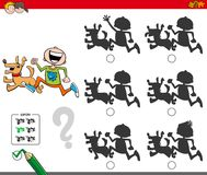 Educational shadow game with boy and dog. Cartoon Illustration of Finding the Shadow without Differences Educational Activity for Children with Boy and Dog Stock Image