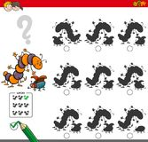 Educational shadow game with insect characters Royalty Free Stock Images