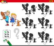 Educational shadow game with kids and dogs. Cartoon Illustration of Finding the Shadow without Differences Educational Activity for Children with Children and Royalty Free Stock Images