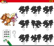 Educational shadow game with kids and toys. Cartoon Illustration of Finding the Shadow without Differences Educational Activity for Children with Children and Royalty Free Stock Photos