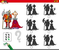 Educational shadow game with king and knight. Cartoon Illustration of Finding the Shadow without Differences Educational Activity for Children with King and Royalty Free Stock Image