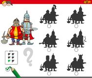 Educational shadow game with knights. Cartoon Illustration of Finding the Shadow without Differences Educational Activity for Children with Medieval Knights Stock Photo