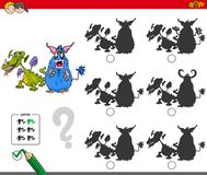 Educational shadow game with monsters. Cartoon Illustration of Finding the Shadow without Differences Educational Activity for Children with Monster Characters Royalty Free Stock Image