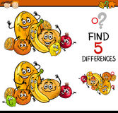 Educational task of differences. Cartoon Illustration of Finding Differences Educational Task for Preschool Children with Citrus Fruit Characters Stock Photos