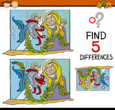 Educational task of differences. Cartoon Illustration of Finding Differences Educational Task for Preschool Children with Girl and her Fish in Tank Stock Image