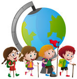 Educational theme with kids and big globe. Illustration Stock Image