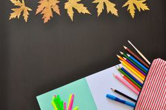 Educational tools such as notebook, pen pencils, etc on a dark background with autumn leaves. copyspace. stock image
