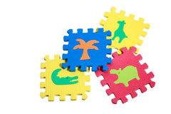 Educational toy for babies colorful foam mats. Collection on white background stock photos