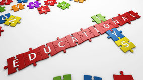 Educational toys. Isolated text educational toys with clipping path Stock Photo