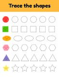 Educational tracing worksheet for kids kindergarten, preschool and school age. Trace the cute geometric shape. Dashed lines. vector illustration